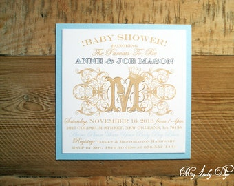 25 Shabby Chic Boy Baby Shower Invitations - Royal Baby Boy Prince with Gold Crown - By My Lady Dye