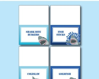 Shark Birthday Party - FOOD LABELS - Printable Shark Decorations - Printable Food Tents - DIY Birthday Party