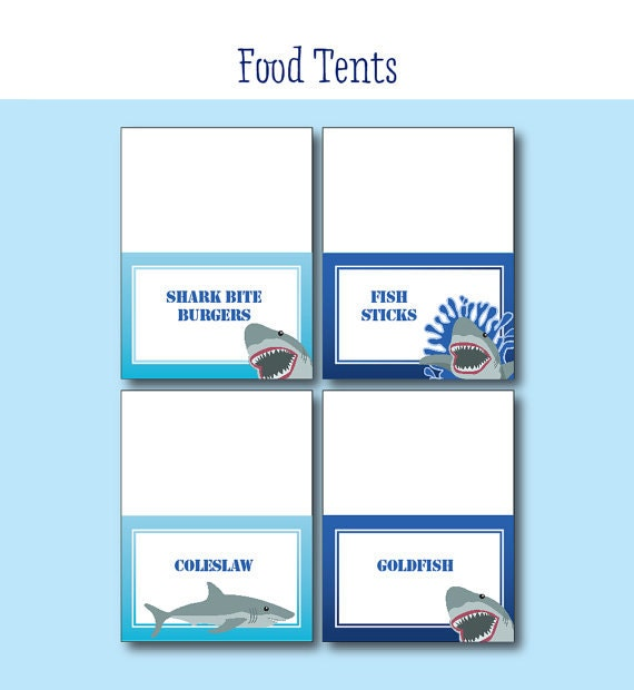 Shark Birthday Party Food Labels Printable Shark