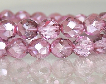 Mirror Pink Czech Glass Beads Fire Polished 8mm 20 Faceted Round