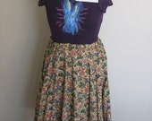Spinner Skirt with Paisley Bird Print