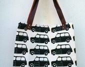 London Bus or Black Cab Unlined Fabric Shopper with Leather Handles