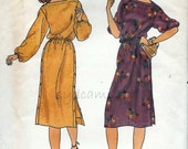 Vintage 1970s Boatneck Side Buttoned Dress Pattern Long or Three Quarter Sleeves Butterick 6623 Bust 32.5 to 36 UNCUT