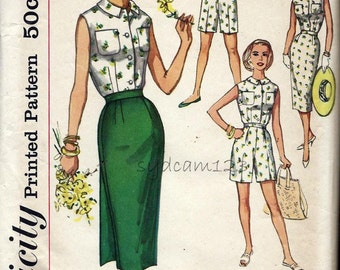 Vintage 1958 Wardrobe Separates Pattern Sleeveless Button Front Blouse Shorts and Wrap Skirt 1950s Simplicity 2589 Bust 33