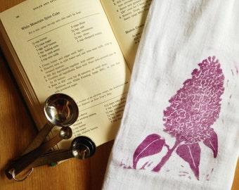 wood block print lilac tea towel by color.joy