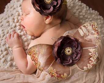 Baby Butterfly Wings and Headband Set, Luxe Newborn Baby Wings, Baby Girl Photography Prop, Brown and Gold Glitter Wings, Flower Wings