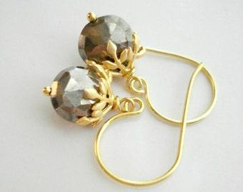 Pyrite Stone Earrings In Gold, Beige Earrings, Gray Earrings, Drop Gold Earrings, Gift For her Under 50