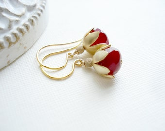 Garnet Red Earrings In Gold, Czech Glass Earrings Drop Gold Earrings Flower Dangle Earrings Christmas Jewelry Gift For her Under 50