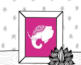 Bright Pink and White Decorated Indian Elephant Head Silhouette Digital Art Print  - 8 x 10 Home Decor Wall Art - Adorned