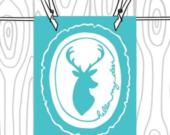 Hello My Deer Print - Deer Head Silhouette -  Turquoise and White Wood Slice Art Print  - 8 x 10 Woodland Wall Art