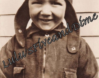 Instant Download - Vintage Photo of Adorable Boy Wearing a Flying Cap - Commercial Use