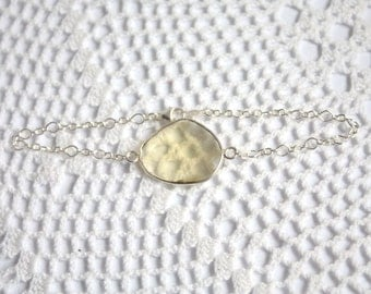 OOAK Lemon Quartz Bezel Set Stone Bracelet on Sterling Silver Chain