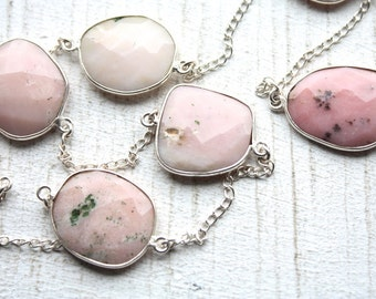 1 Foot Faceted Bezel Set Pink Opal Gemstone Chain // Sterling Silver Chain // Pink Stone // Unfinished Chain // Jewelry Supply