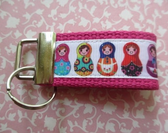 Matryoshka Bright PINK Mini Key Fob Russian Doll Party Favor