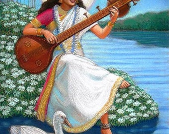 Saraswati Hindu Goddess Art spiritual yoga meditation Poster Print of painting by Sue Halstenberg
