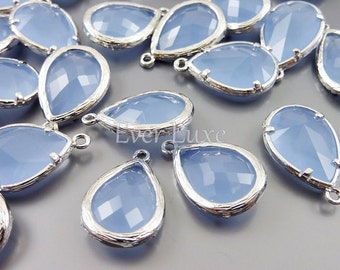 2 Unique periwinkle faceted glass pendants, large teardrop glass beads for jewelry making 5060R-PW (bright silver, periwinkle, 2 pieces)