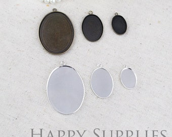 Nickel Free - High Quality Antique Bronze / Silver Plated Brass 13x18mm / 18x25mm / 30x40mm Cabochon Pendant Base with Loop