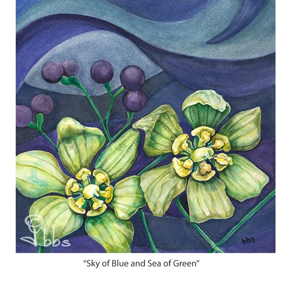 green flower painting, original watercolor flowers,  flower artwork, surreal flowers painting, green and blue wall art