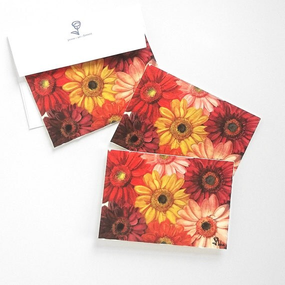 daisy cards, daisies note card, flower stationery, botanical invitation, blank notecards and envelopes