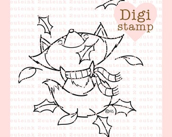 Fall Fox Digital Stamp for Card Making, Paper Crafts, Scrapbooking, Hand Embroidery, Invitations, Stickers, Coloring Pages