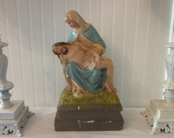Vintage Pieta Chalkware Statue (Michelangelo). Jesus and Blessed Mother Mary. Distressed Catholic Mid century Plaster Religious Icon