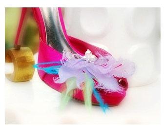 Shoe Clips Lavender & Pearls. Couture Bride Bridal Bridesmaid, Light Purple Lilac Blue Mint Blue Ostrich Feathers, Statement Pastels Fashion