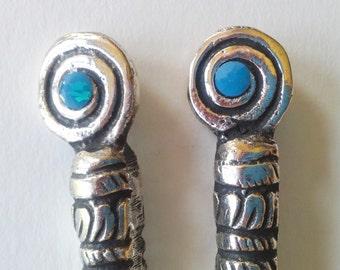 Pair of Swarovski Caribbean Blue Opal & Silver Metal Hair Sticks, Fashion Jewelry, Vintage Style Accessories