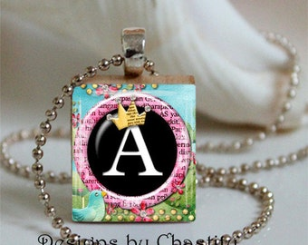 Whimsical Princess Custom Monogram Scrabble Necklace