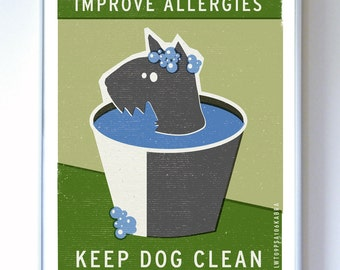 Scottish Terrier - Improve Allergies - Original Illustration - Typography Poster Print