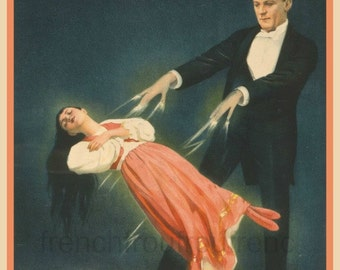 antique victorian illustration magician levitation act art poster DIGITAL DOWNLOAD