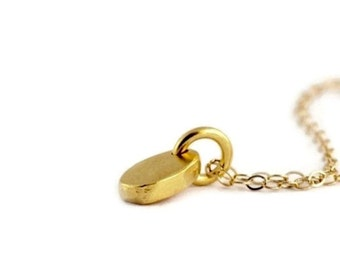 Tiny Gold Pebble Necklace, Tiny Gold Dot Necklace in Gold Filled and Vermeil, Simple Gold Necklace, Sweet Everyday Dainty Jewelry