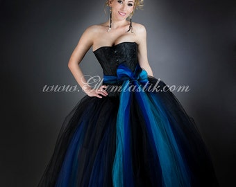 Custom Sizel Blue and Black burlesque corset Ball gown with bow Prom Dress S-XL