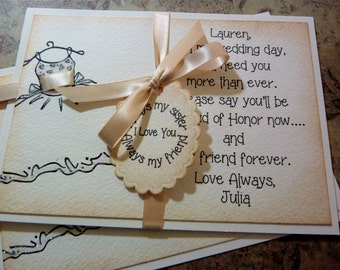Be My Bridesmaid - be my Maid of Honor Invitation - Ask Sister Card