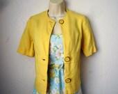 Vintage Yellow Short Sleeve Jacket, Size Medium