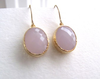 Ice pink oval earrings, faceted glass in 16k gold plated frames on 14k gold fixtures