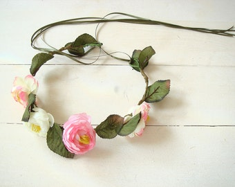 Peony hair crown, white peony flower crown, wedding accessory