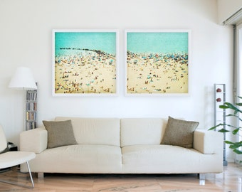 Oversized art // Large Art Set // Large Beach Photography for Modern Home // Coney Island Beach // Turquoise Wall Art SET OF TWO