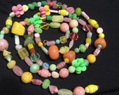 Rare Vintage West German Glass and Plastic Fruit  Bead Necklace Was 125 now 85 dollars