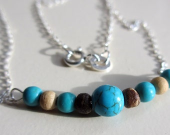 Turquoise Necklace, Wood Necklace, Silver Necklace, Beach Necklace, Boho Necklace, Stone Necklace