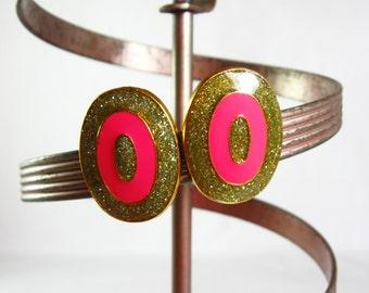Pink and Gold Earrings, Pink Enamel Earrings, Gold and Pink Earrings, Hot Pink Earrings,  Pink Easter Pierced Earrings Gold Glitter Earrings