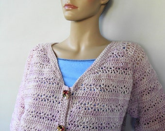 Crochet Cardigan, Pink Cardigan, Merino Wool Cardigan, Crocheted Cardigan, Cardigan Women, Cardigan Sweaters, Rose Garden, Available in M/L