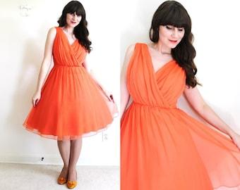 50s Dress / 1950s 1960s Dress / Coral Chiffon Party Dress