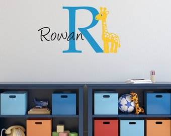 Giraffe Wall Decal with Initial & Name - Cartoon Giraffe Wall Sticker - Medium