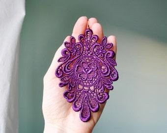 Victorian chic purple lace earrings/ Long earrings/ Romantic/ Victorian earrings/ Modern boho/ Gift idea/ rusteam