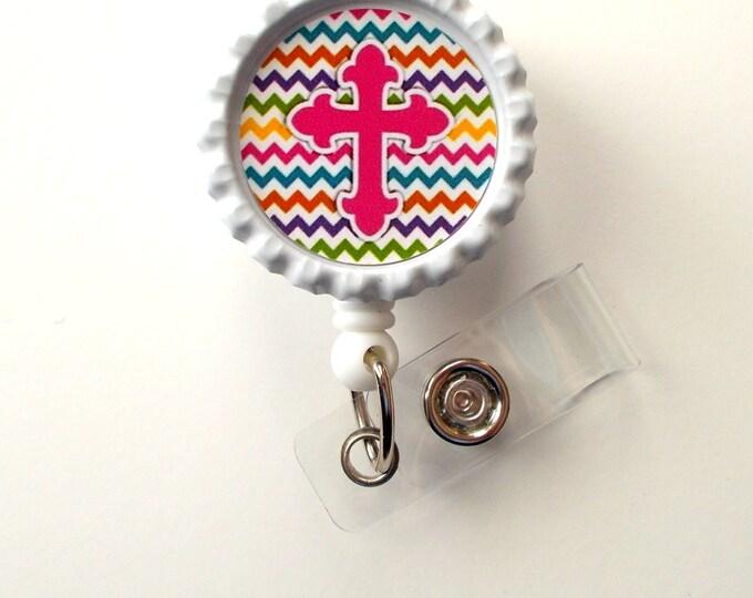 Chevron Cross Pink - Nursing Badge Holder - Teacher Badge Reel - Nurse Name Badge - Nurses Badge - Cute ID Badge Reel - RN Badge