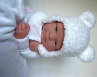 Bear Hat, Polar Bear, Knit White Bear Ear Hat, Photo Shoot Prop, Animal Hat, Teddy Bear Hat, Ear Flap Knit Hat