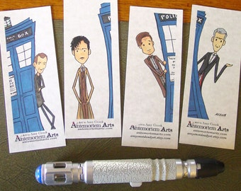 4 Doctor Who Bookmarks - Nine Ten Eleven Twelve TARDIS