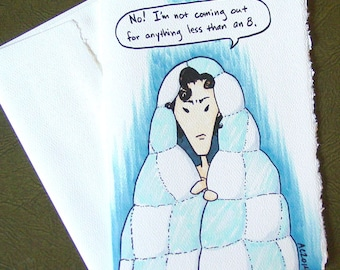Sherlock Sulking greeting card - BBC Sherlock Holmes and his Blankie