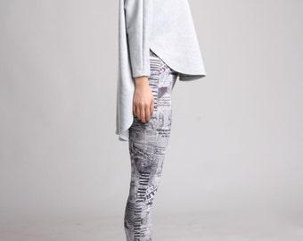 High Low Curved Hem Sweatshirt, Batwing Top, Oversized Sweater,  Loose Sweater, Dolman Sleeve Top, Batwing Sweater, Winter Tunic- Gray