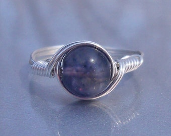 Iolite Argentium Sterling Silver Wire Wrapped Stone Ring